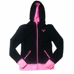 Justice Black & Pink Full Zip Hoodie w/Thumb Holes